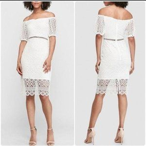 Off The Shoulder Crochet Lace Midi Dress Express